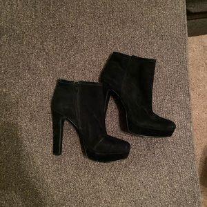 Platform black booties